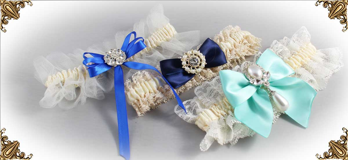 Ivory and Blue Wedding Garters-Bridal-Garters-Prom-Garters-Custom-Wedding-Garter-Linda-Joyce-Couture-Luxury-Bespoke