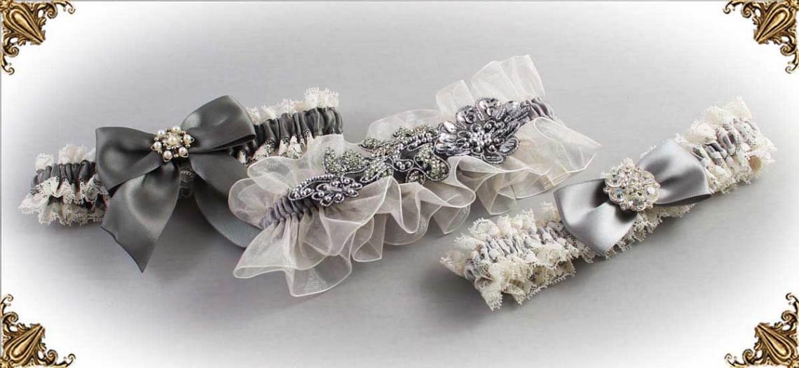 Ivory and Gray-Wedding-Garters-Bridal-Garter-Prom-Garters-Custom-Wedding-Garter-Linda-Joyce-couture