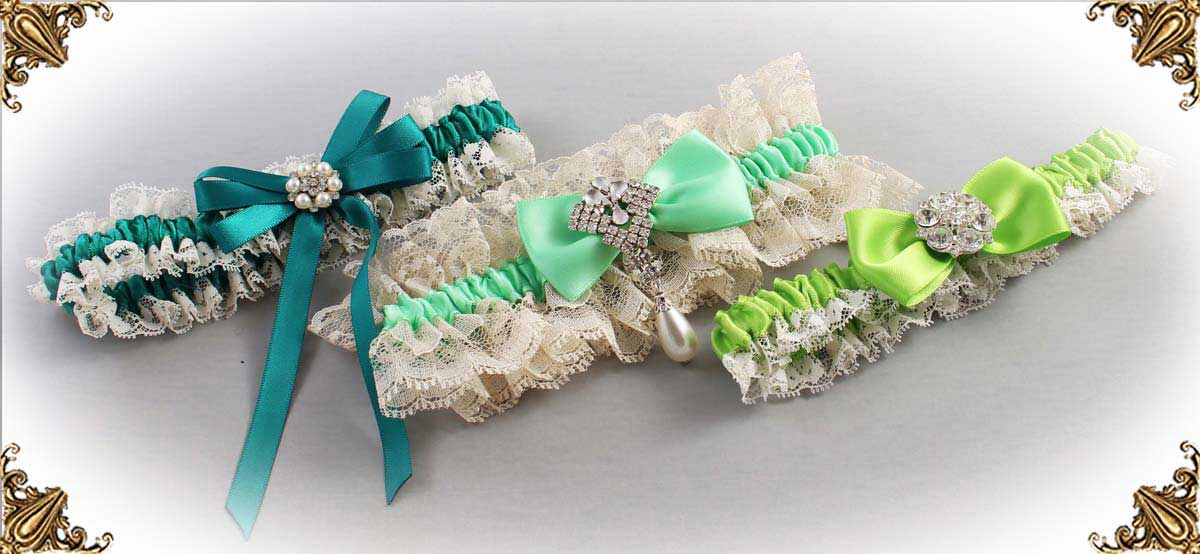 Ivory and Green-Wedding-Garters-Bridal-Garter-Prom-Garters-Custom-Wedding-Garter-Linda-Joyce-couture