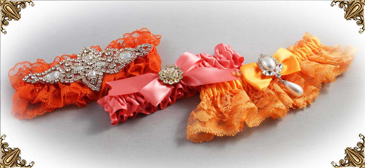 Orange Wedding Garters-Bridal-Garter-Prom-Garters-Custom-Wedding-Garter-Linda-Joyce-couture