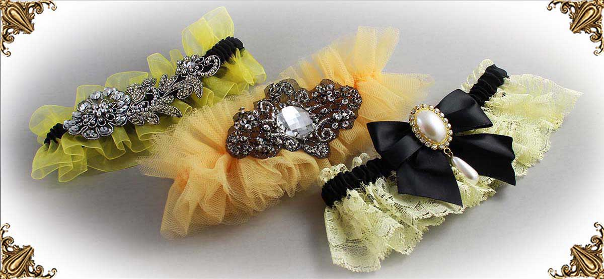 Yellow-and-Black-Wedding-Garters-Bridal-Garters-Prom-Garters-Custom-Wedding-Garters-Linda-Joyce-Couture