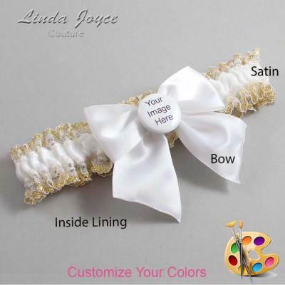 Customizable Wedding Garter / Custom Button #04-B01-M44