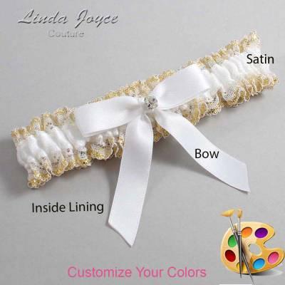 Customizable Wedding Garter / Jana #04-B03-M04-Silver