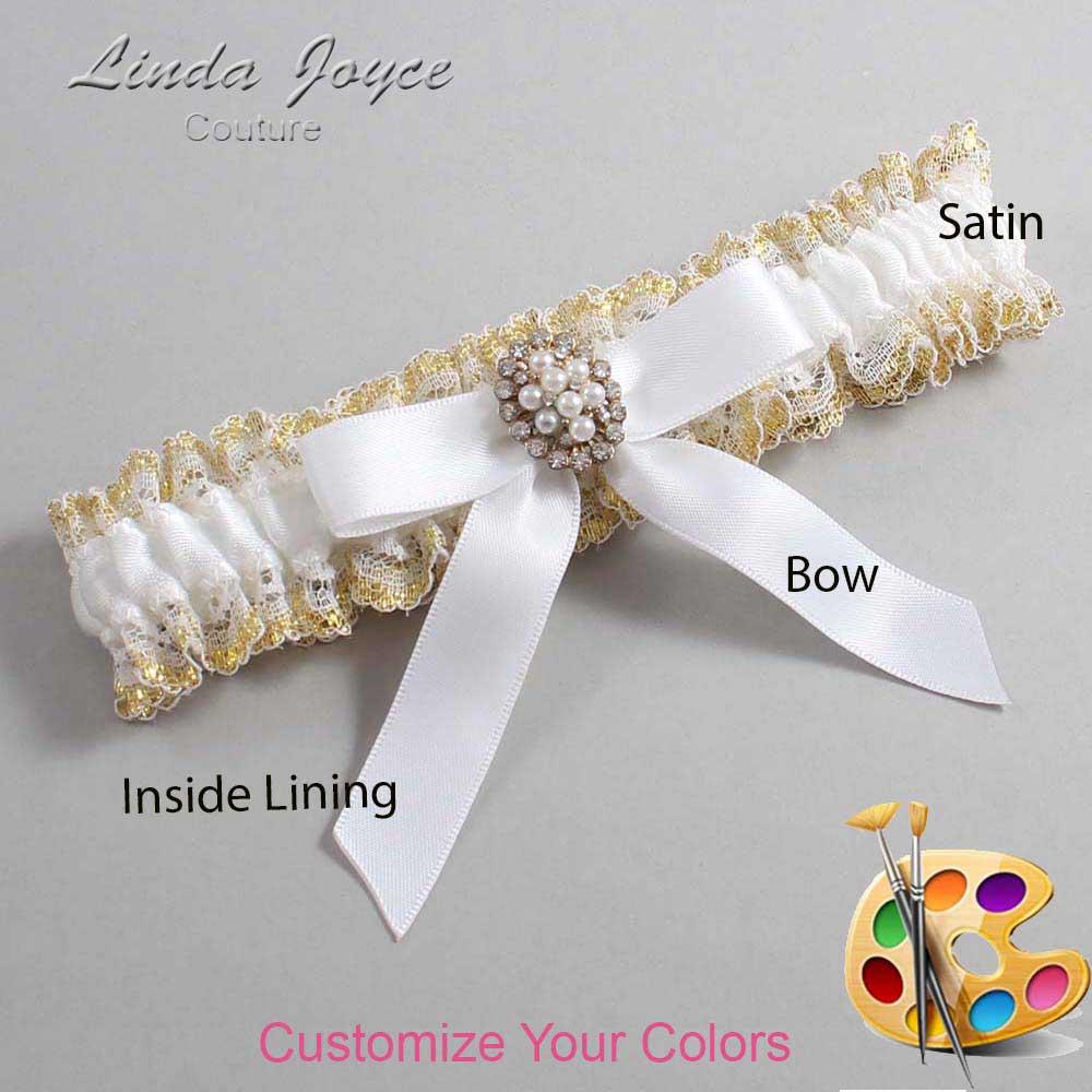 Customizable Wedding Garter / Jenny #04-B03-M17-Gold