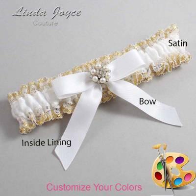 Customizable Wedding Garter / Kayla #04-B03-M23-Silver