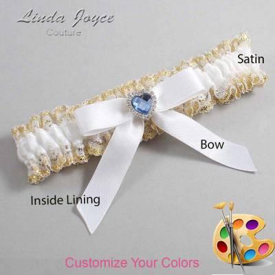 Customizable Wedding Garter / Gina #04-B03-M25-Silver-Light-Sapphire