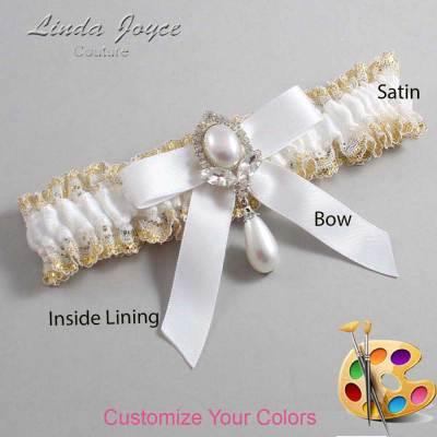 Customizable Wedding Garter / Bethany #04-B03-M32-Silver