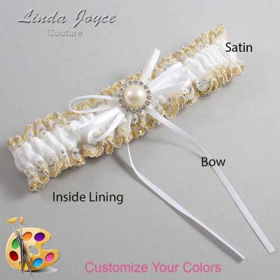 Customizable Wedding Garter / Faith #04-B10-M22-Silver