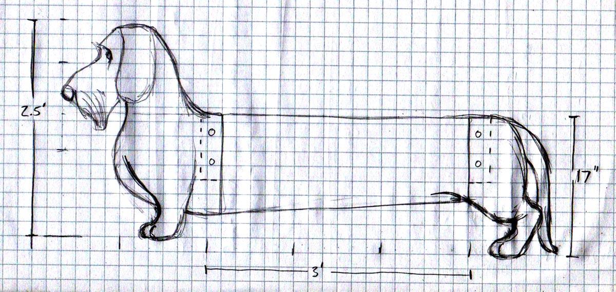 sketch dog bench