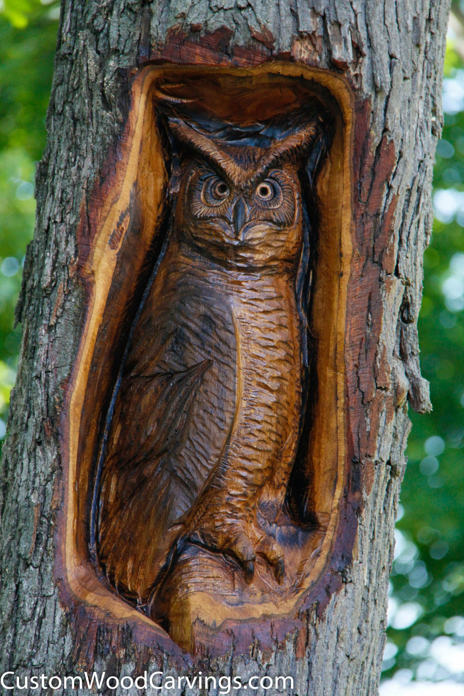 Relief owl carving custom sculpture sign company