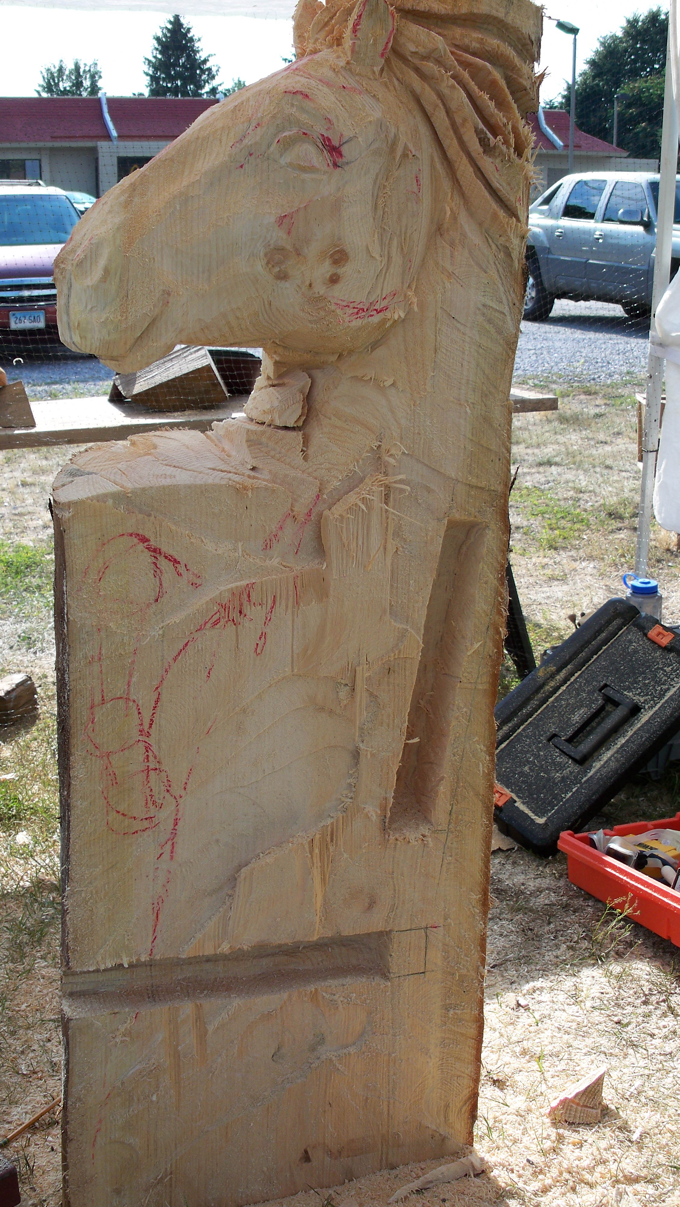 Chainsaw carved horse bench year of clean water