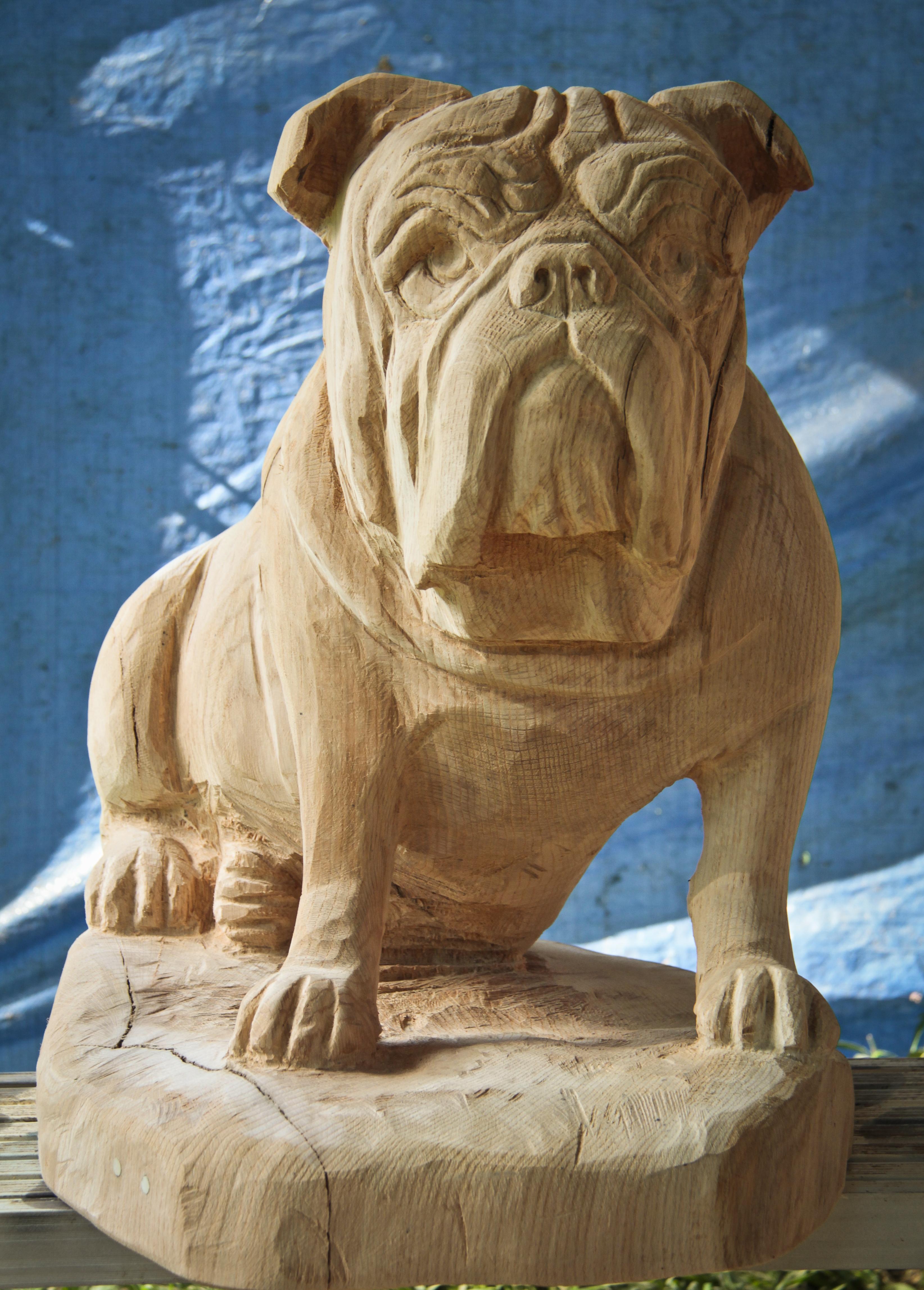 English Bulldog Carving  Custom Sculpture & Sign Company