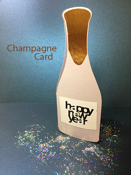 Happy New Year Card + Champagne Bottle Cut File