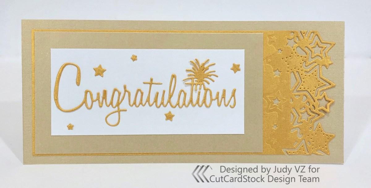Slimline Gold Congratulations Card