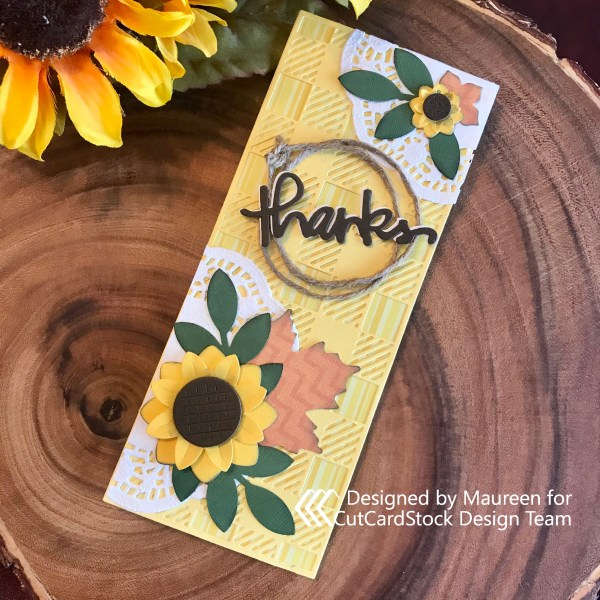 Sunflower Slimline Card: Thank You