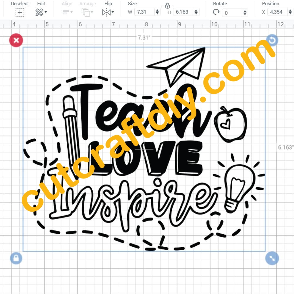 Download Teach Love Inspire SVG EPS PNG DXF Cut Files School SVG ...