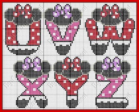 cros012 min - クロスステッチでイニシャル刺繍 〜 かわいいディズニーアルファベットの無料図案
