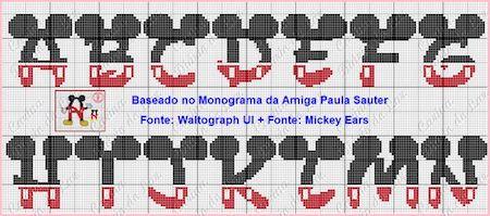 cros06 min - クロスステッチでイニシャル刺繍 〜 かわいいディズニーアルファベットの無料図案