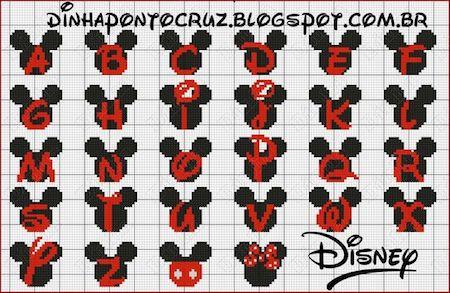 cros07 min - クロスステッチでイニシャル刺繍 〜 かわいいディズニーアルファベットの無料図案