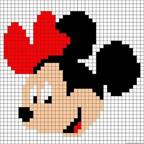 m02 min - ミニーマウスのクロスステッチ無料図案 〜 アイロンビーズにも使えちゃう!!