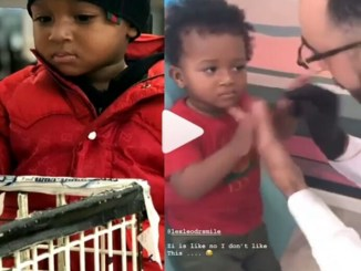 See The Moment Wizkid's Son, Zion Runs From Injection (photos)