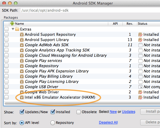 Android SDK Manager  Intel HAXM