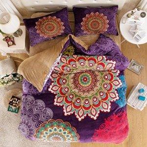 Boho bedding in colorful peacock medallion design