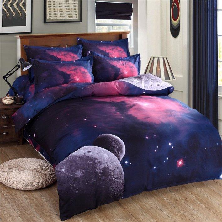 Moons and Fuschia Space Scene Bedding Duvet Cover Set