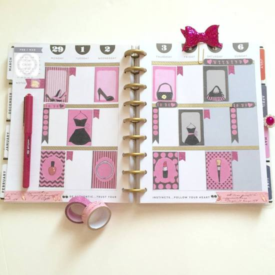 Fashion themed stickers used in planner