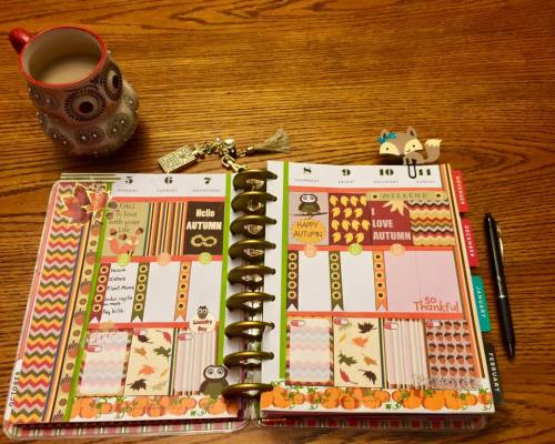 free printable fall themed sampler stickers used in happy planner