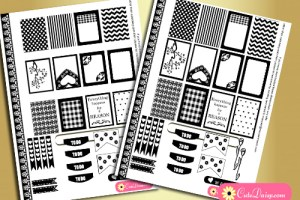 black and white stickers for erin condren and happy planner