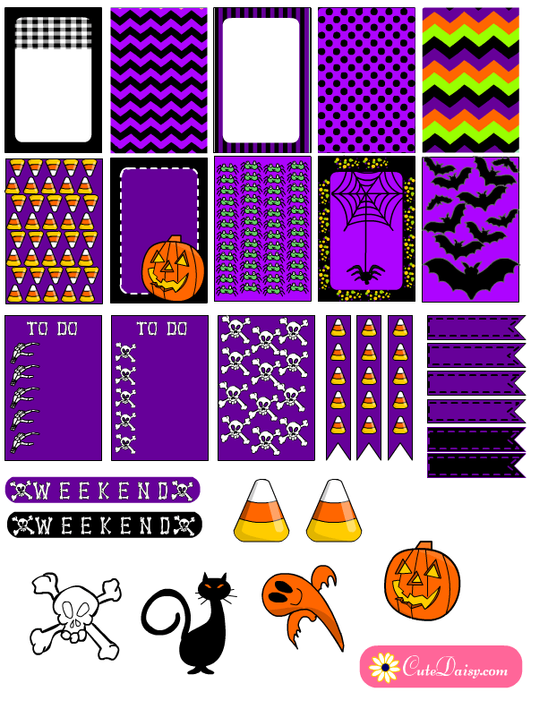 picture about Free Printable Happy Planner Stickers titled Free of charge Printable Halloween Stickers for Content Planner and EC