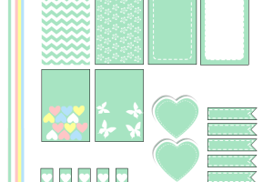 Free Printable Planner Stickers in Marshmallow Green Color