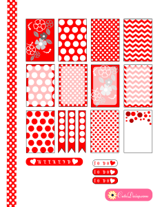 free printable red and white polka dots happy planner stickers
