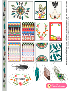 Free Printable Tribal Aztec Boho Stickers Sample Kit for Happy Planner