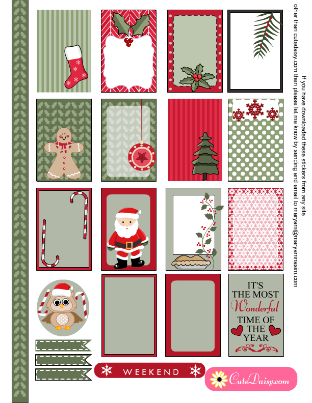 photograph regarding Printable Christmas Stickers identified as No cost Printable Xmas Sticker Sampler Package
