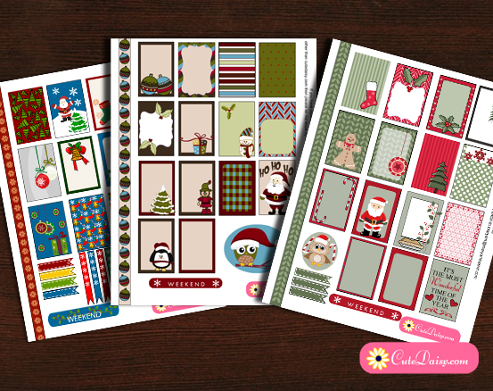 Free Printable Christmas Sticker Sampler Kit for Erin Condren and Happy Planner
