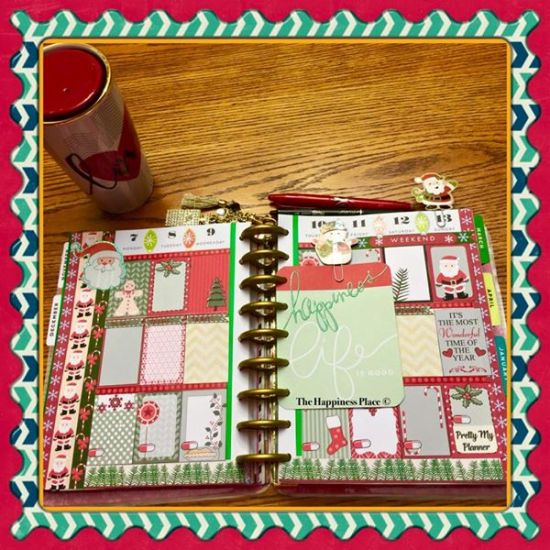 Christmas stickers used in planner