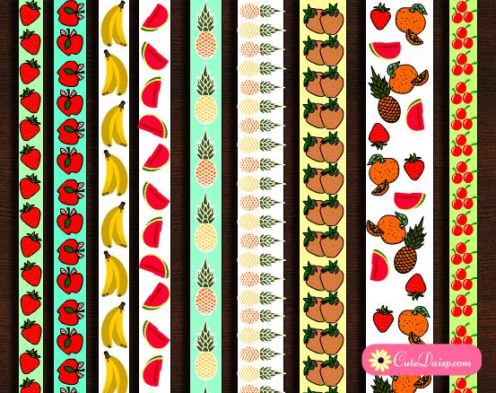 Free Printable Fruit Washi Tapes