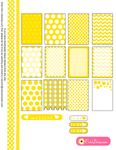Free Printable Planner Stickers with Polka Dots in Lemon Yellow Color
