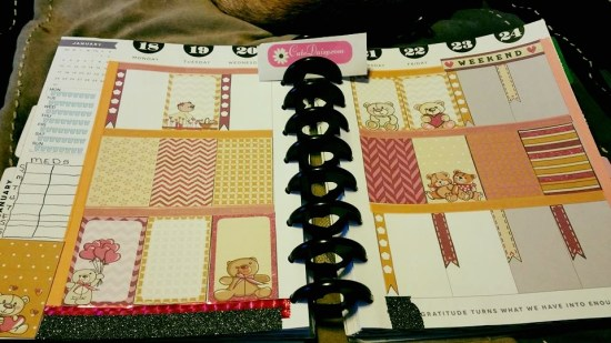 Teddy bear stickers used in planner