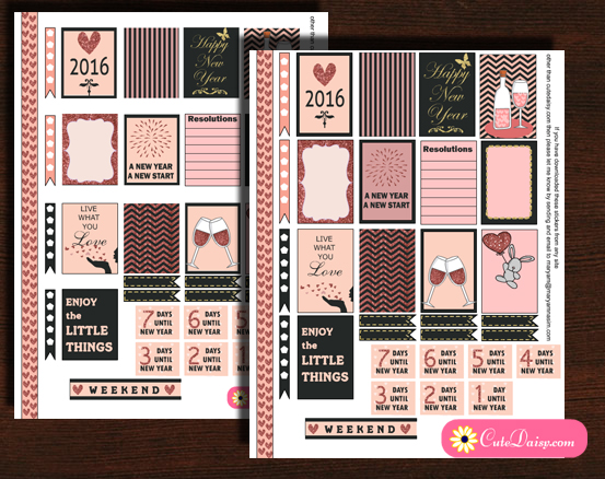 New year stickers for Happy Planner and Erin Condren