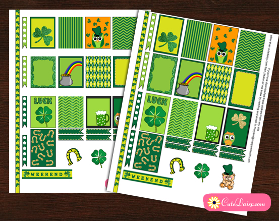 Free Printable Saint Patrick's Day Planner Stickers