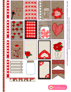 Valentine's Day Rustic Stickers for Happy Planner