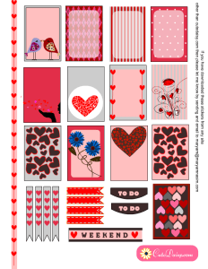 Valentine's Day Planner Stickers Printable for Happy Planner and Erin Condren