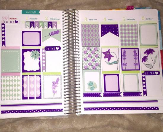 Mint and purple stickers used in planner