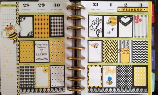 Honey bee themed stickers used in Planner