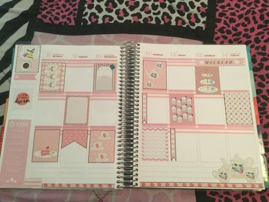 Cute tea stickers used in planner