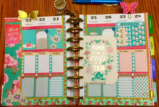 beautiful tea themed planner layout