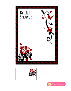 Black and Red Bridal Shower Invitation with flowers